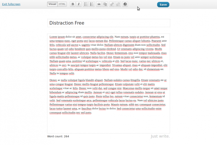 WordPress distraction-free editor